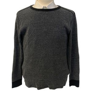 Wallace & Barnes J. Crew Knit Thermal Knit Pullover Sweater Gray Black Mens L